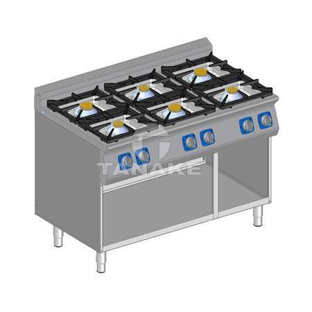 Kuchnia gazowa 6 palnikowa z szafką