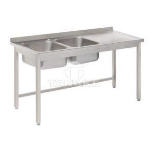 Stół ze zlewem 2-kom. i ociekaczem 1600x600x850
